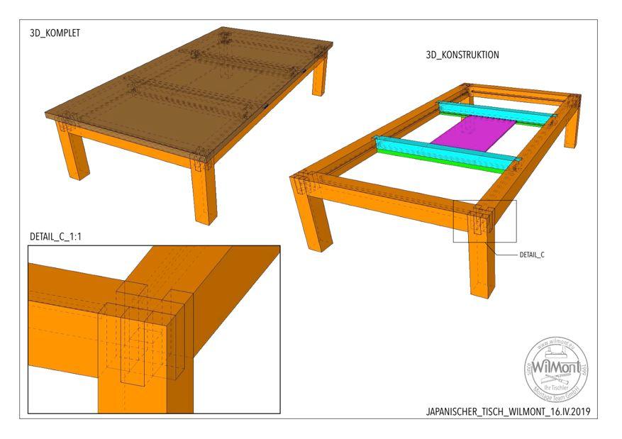 3D Visualisierung eines EIchenholztisches, Kotatsu mit Detailansicht