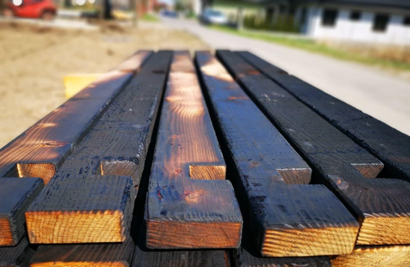 Yakisugi Möbel Holz im Garten für Hochbeet