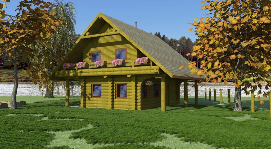 Blockhaus in Tirol, Österreich, mit Garten und Bäumen